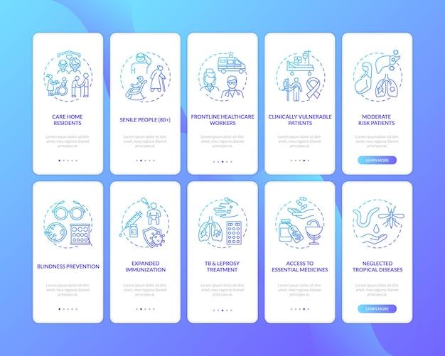 Gezondheidsprogramma onboarding mobiele app-paginascherm met concepten set illustratie