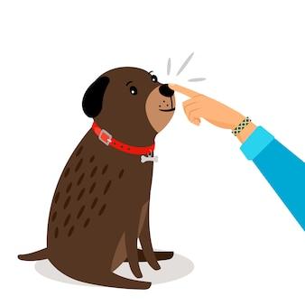 Gezondheidstest hond. de meisjeshand raakt haar vectorillustratie van de hondenneus