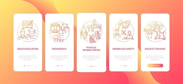 Gezondheidsvoorlichting onboarding mobiele app-paginascherm met concepten