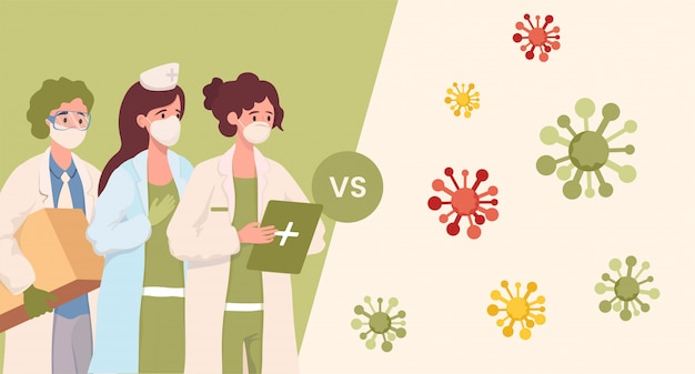 Gezondheidswerkers in beschermende maskers en uniform versus coronavirus cellen cartoon afbeelding.