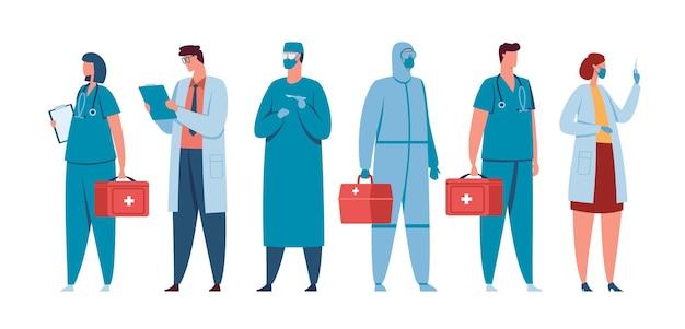 Gezondheidswerkers medisch team van dokter verpleegkundigen chirurgen artsen in medic uniform vector concept