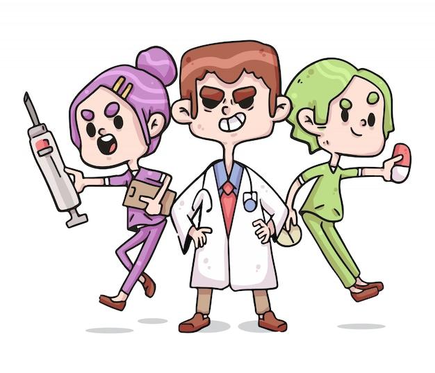 Gezondheidswerkers verpleegster en artsen coronavirus leuke illustratie