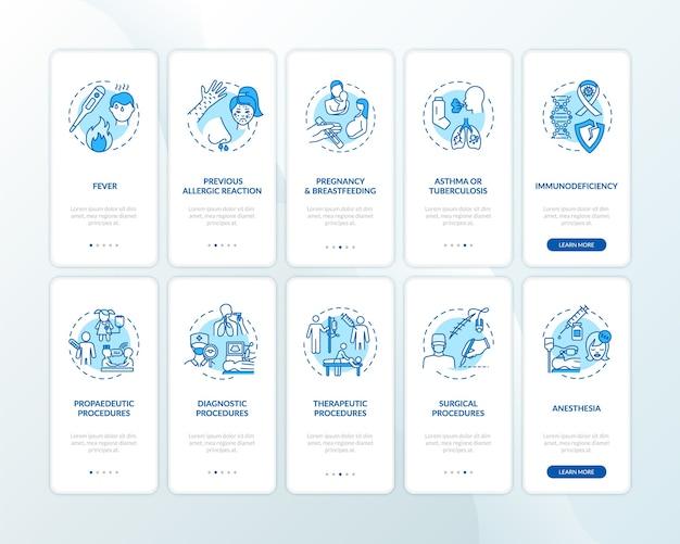 Gezondheidszorg aan boord van mobiele app-paginascherm met ingestelde concepten