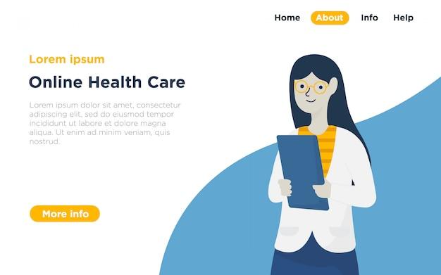 Gezondheidszorg bestemmingspagina illustratie