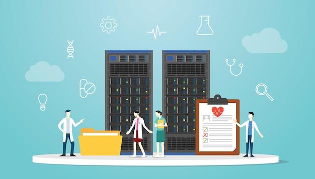 Gezondheidszorg bigdata medisch concept met server en arts met moderne vlakke stijl vectorillustratie