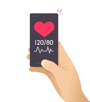 Gezondheidszorg check test mobiele telefoon mobiel app tracker vector