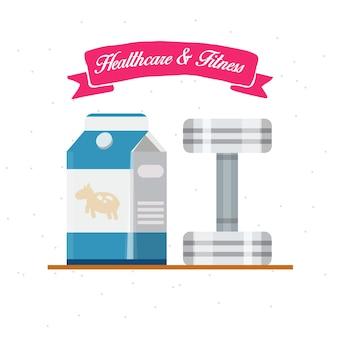 Gezondheidszorg en fitness. melk met dumbell