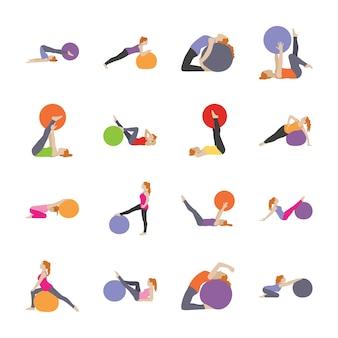 Gezondheidszorg en fitness oefeningen plat pictogrammen
