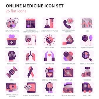 Gezondheidszorg en geneeskunde, medische apparatuur pictogrammen instellen