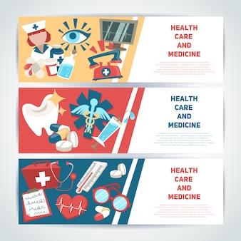 Gezondheidszorg en geneeskunde medische horizontale banner sjabloon instellen geïsoleerde vectorillustratie.