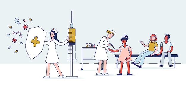 Gezondheidszorg en kinderen vaccinatie concept
