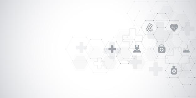 Gezondheidszorg en medische achtergrond met vlakke pictogrammen en symbolen.