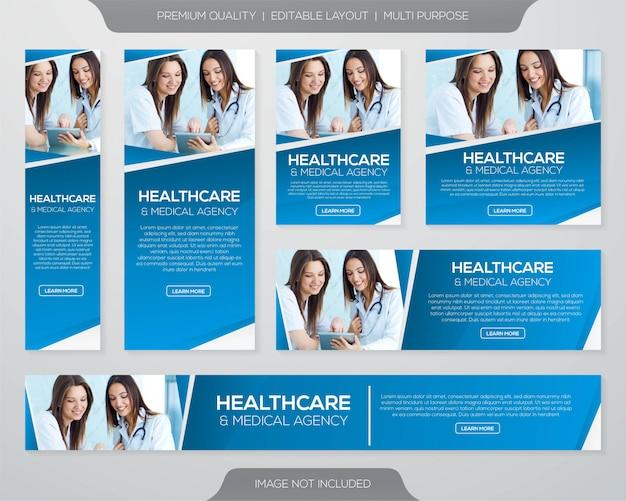 Gezondheidszorg en medische banner kit sjabloon