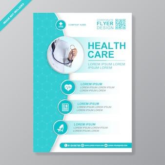 Gezondheidszorg en medische dekking a4 flyer ontwerpsjabloon voor afdrukken