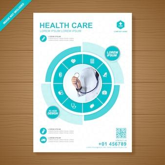 Gezondheidszorg en medische dekking a4 flyer ontwerpsjabloon