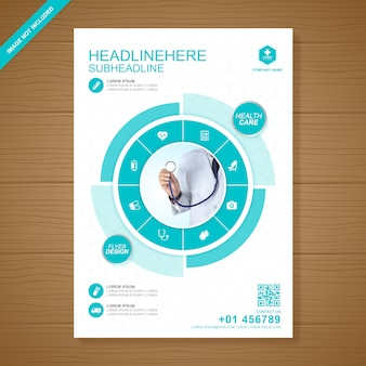 Gezondheidszorg en medische dekking flyer ontwerpsjabloon