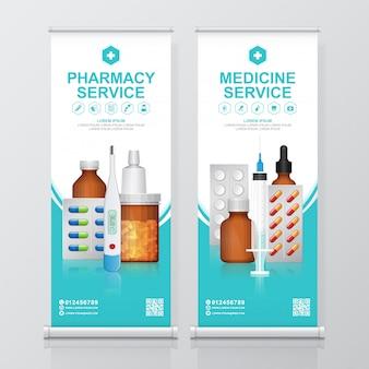 Gezondheidszorg en medische flessen instellen geneeskunde oprollen, apotheek standee sjabloon