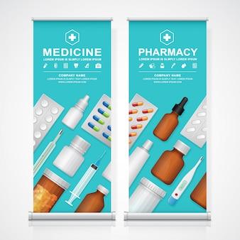 Gezondheidszorg en medische flessen instellen
