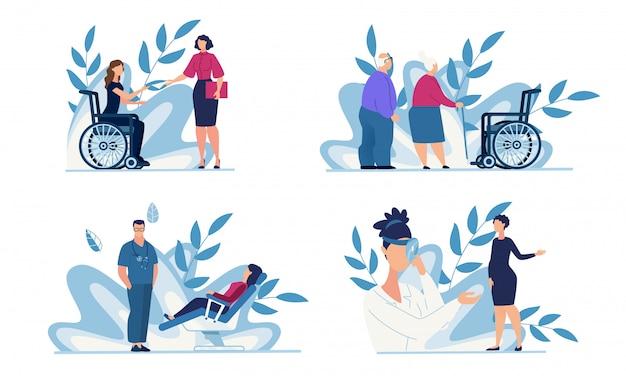 Gezondheidszorg en medische ondersteuning voor mensen ingesteld