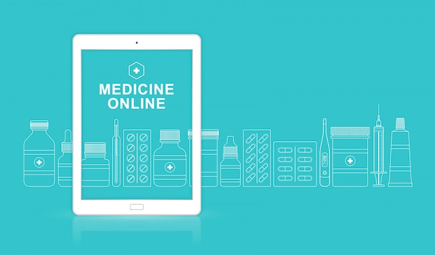Gezondheidszorg en medische online ipad met flessen vastgestelde pillen
