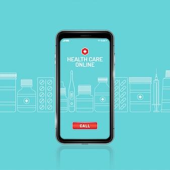 Gezondheidszorg en medische online telefoon met geplaatste flessen