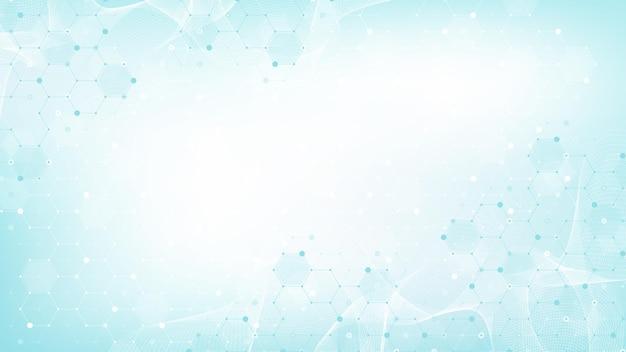 Gezondheidszorg en medische patroon innovatie concept achtergrondontwerp. abstracte geometrische zeshoeken vorm geneeskunde en wetenschap achtergrond. vector illustratie.