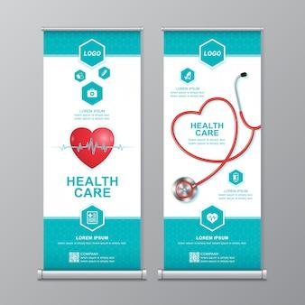 Gezondheidszorg en medische roll-up en standee-sjabloon