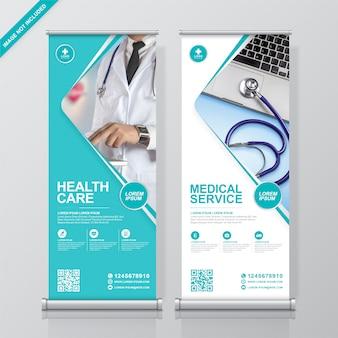 Gezondheidszorg en medische rollup en staande banner ontwerpsjabloon