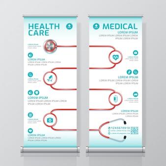 Gezondheidszorg en medische samenvoeging en standee ontwerpsjabloon