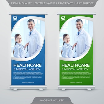 Gezondheidszorg en medische stand xbanner rollup sjabloonontwerp