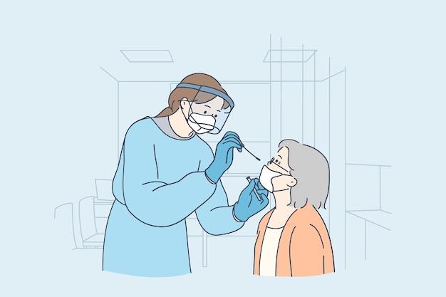 Gezondheidszorg en medische tests voor covid-19 concept illustratie