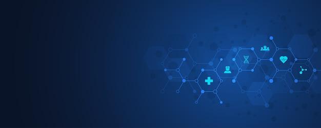 Gezondheidszorg en technologieconcept met pictogrammen en symbolen. sjabloon voor gezondheidszorg, innovatiegeneeskunde, wetenschappelijke achtergrond, medisch onderzoek. illustratie.