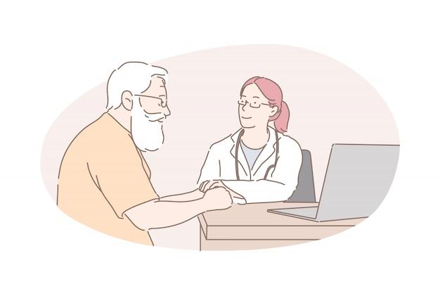 Gezondheidszorg, gezondheidsonderzoek, arts advies concept