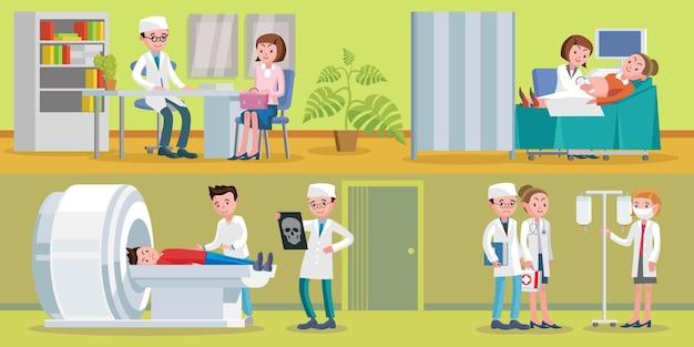Gezondheidszorg horizontale illustratie