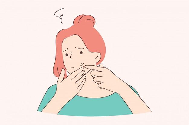 Gezondheidszorg huidonderzoek frustratie concept
