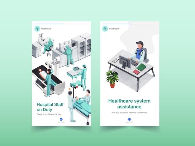 Gezondheidszorg instagram sjabloonontwerp met medische apparatuur en medisch personeel en hoogtechnologische apparaten, artsen en patiënten