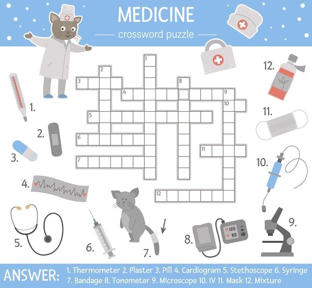 Gezondheidszorg kruiswoordraadsel. medicijnquiz voor kinderen. educatieve vakantieactiviteit met schattige medische apparatuur en dokter