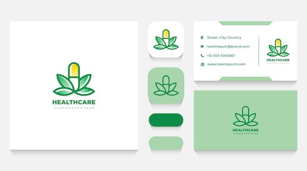 Gezondheidszorg medicatie en bladeren logo sjabloon en visitekaartje