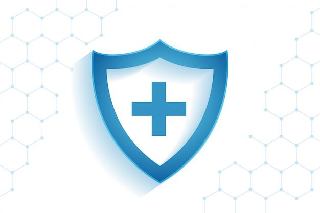 Gezondheidszorg medisch schild voor virusbeschermingsachtergrond