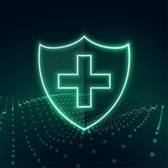 Gezondheidszorg medische bescherming schild in neon stijl achtergrond