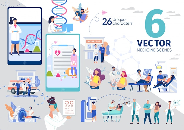 Gezondheidszorg moderne technologieën scènes ingesteld