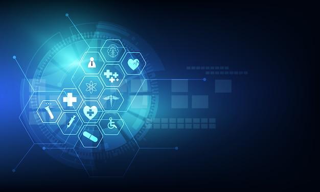 Gezondheidszorg pictogram patroon medische innovatie achtergrondontwerp