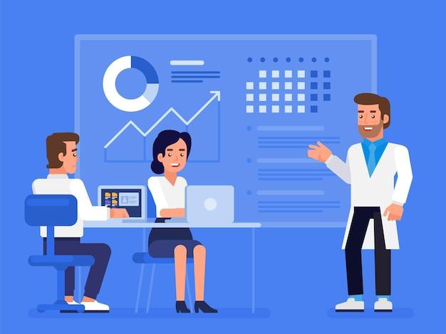 Gezondheidszorg plan. professioneel medisch team in de bestuursvergadering op kantoor. moderne platte illustratie voor webdesign, marketing en printmateriaal.