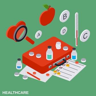 Gezondheidszorg platte isometrische concept illustratie
