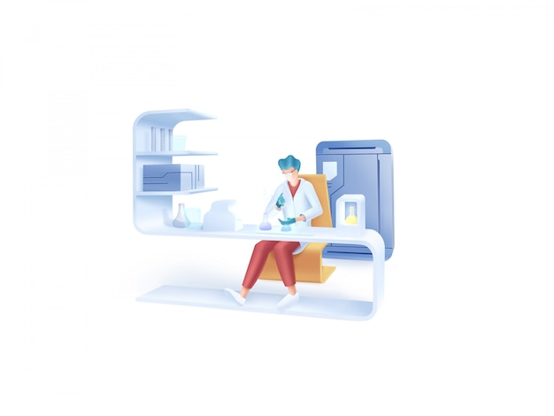 Gezondheidszorg serie: laboratorium illustratie