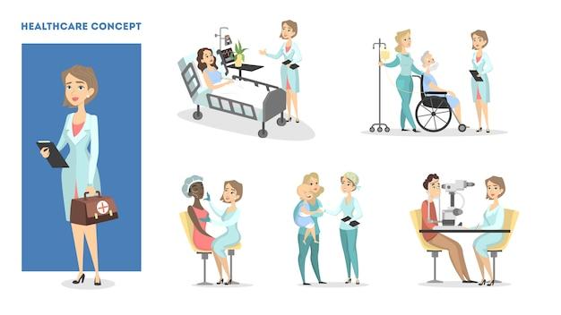 Gezondheidszorg set. vrouwelijke arts met patiënten.