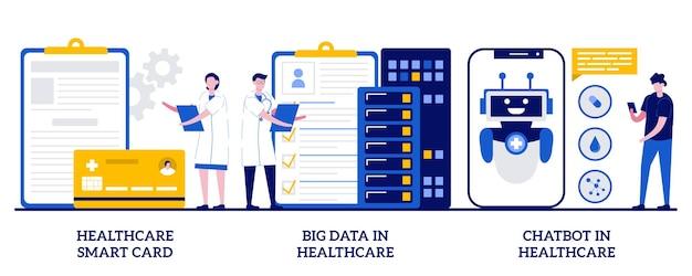 Gezondheidszorg smartcard, big data en chatbot in de zorg. set van technologie in de geneeskunde