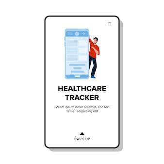 Gezondheidszorg tracker smartphone applicatie vector. jonge jongen met behulp van digital health care tracker phone app. karakter controleren van informatie op mobiele telefoon display web flat cartoon afbeelding