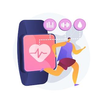 Gezondheidszorg trackers wearables en sensoren abstracte concept illustratie