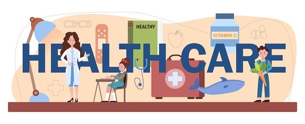Gezondheidszorg typografische kop. gezonde levensstijl les en gezondheidszorg